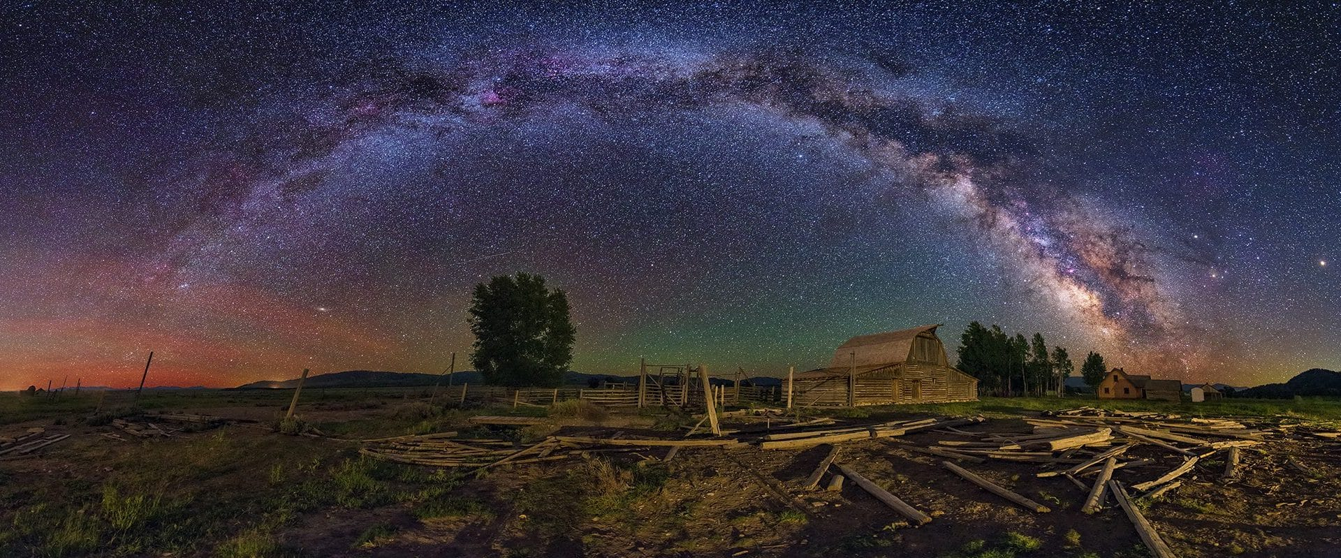 Moulton Barn Milky Way Panorama – Abandoned Foreground