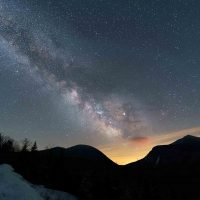 April 2019 – Core between mountains with light pollution
